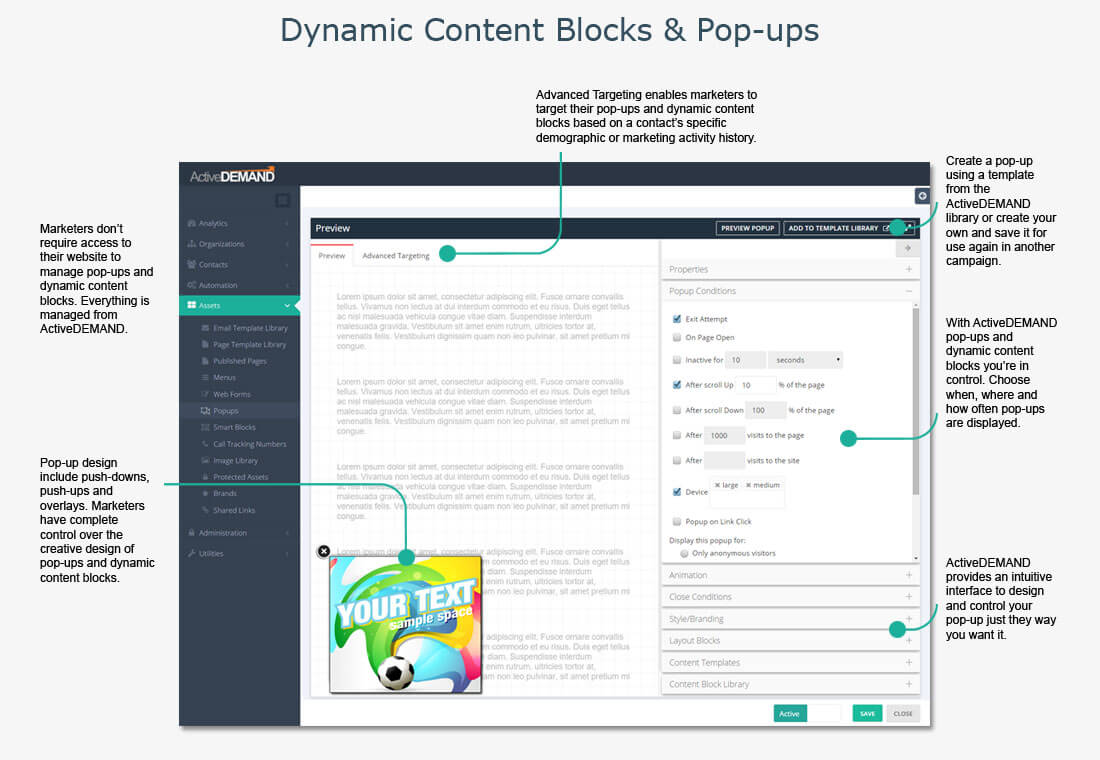 dynamic content blocks and popups