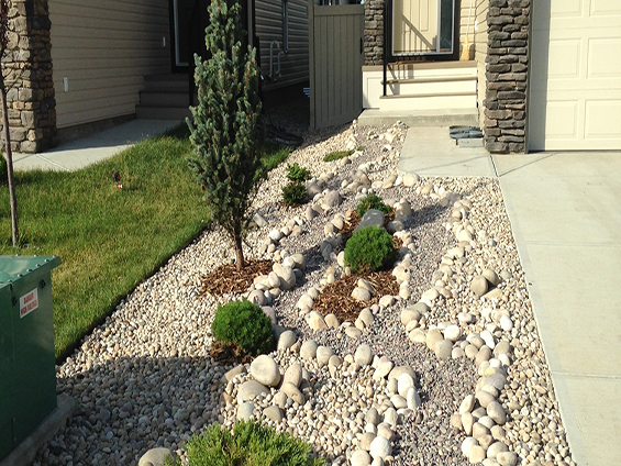 Front yard rock landscape