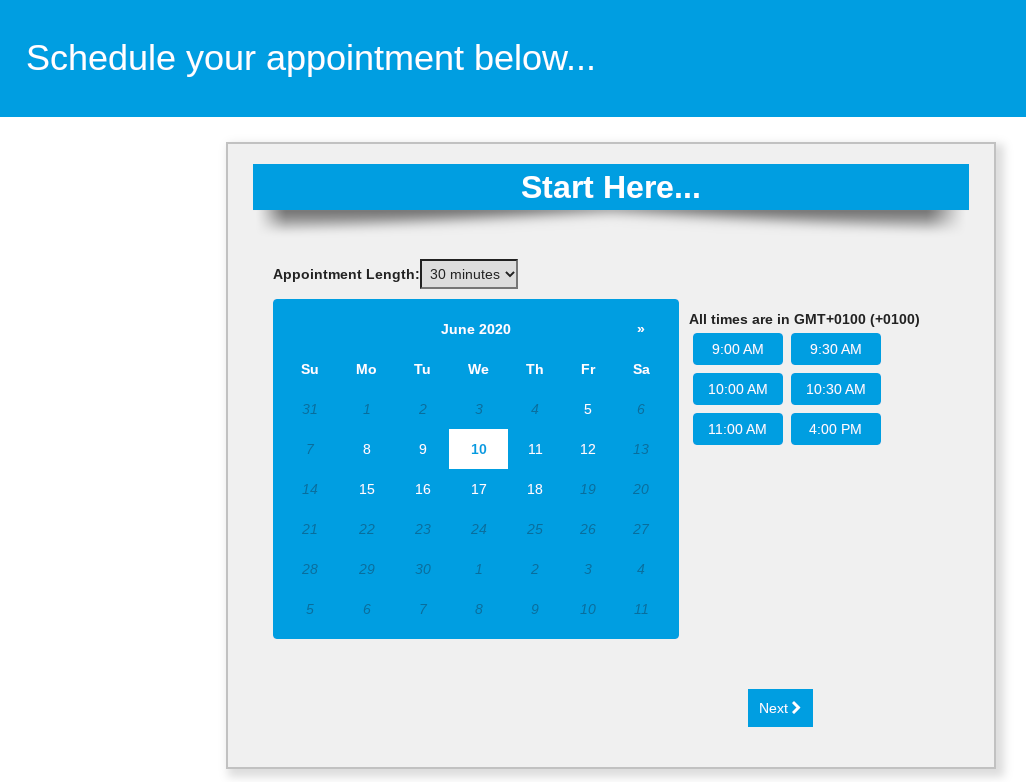 appointment scheduling set up
